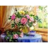 Алмазная мозаика «Розы на столе» 30х40